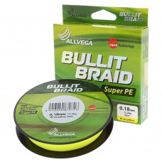 Плетеный шнур Allvega Bullit Braid 92M Hi-Vis Yellow 0,16mm